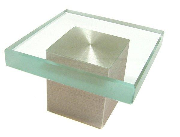 Square Knob, Glass/Satin Nickel