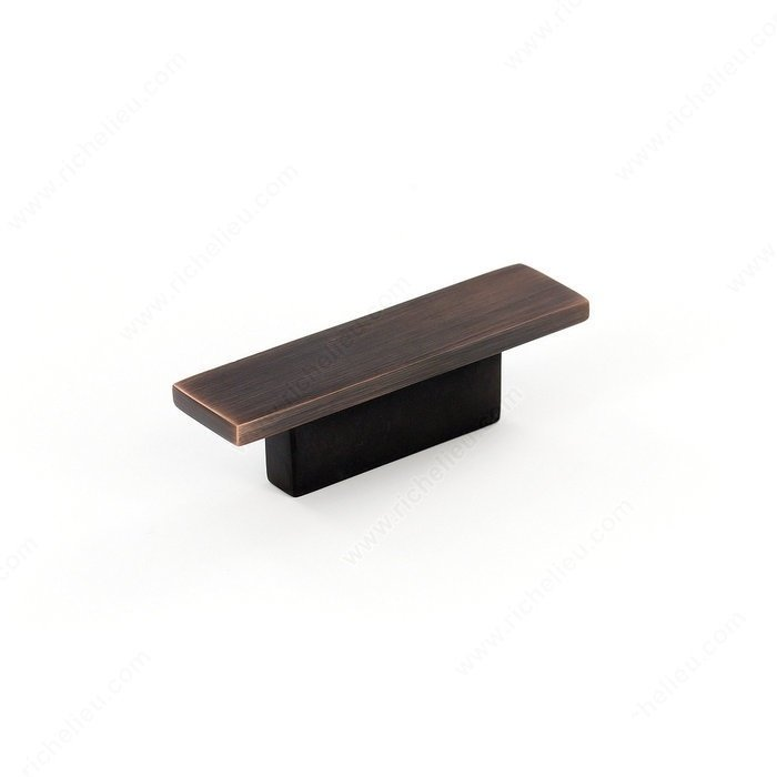 Rectangular Knob, Brushed Oil Rubbed Bronze, 32mm