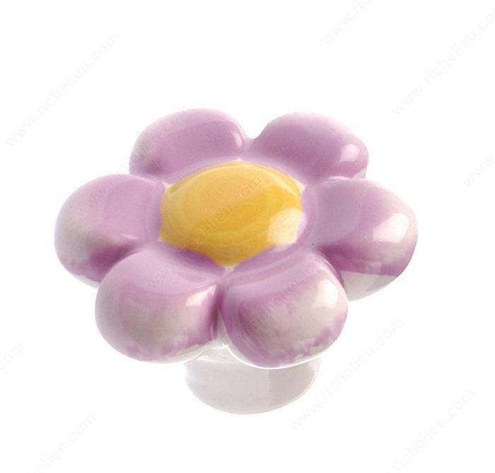 Flower Knob, Purple/Yellow