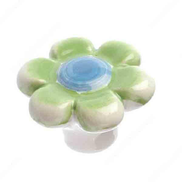 Flower Knob, Green/Blue
