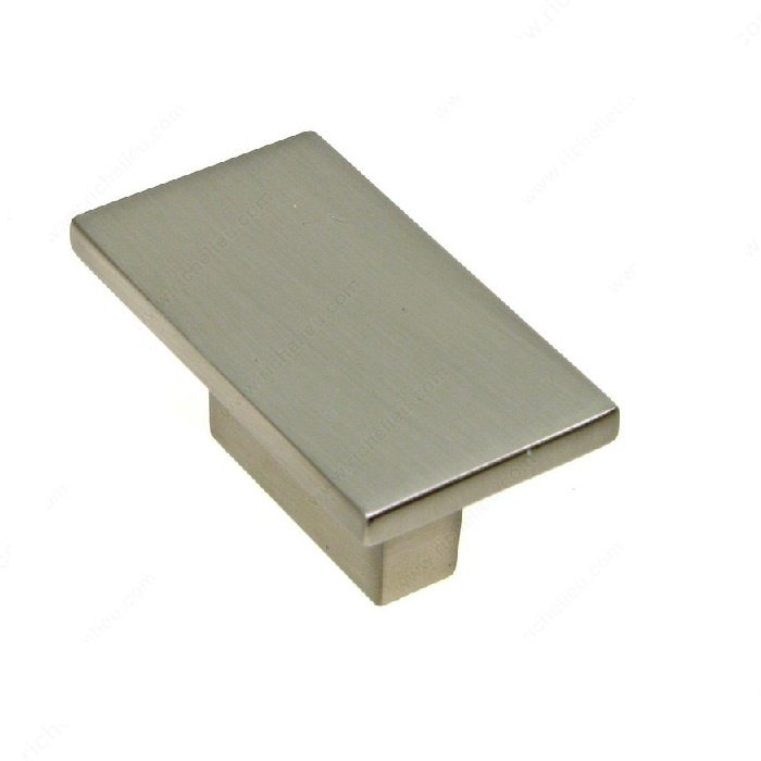 Rectangular Knob, Brushed Nickel, 32mm