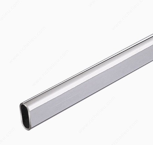 Oval Closet Rod, Polished Chrome