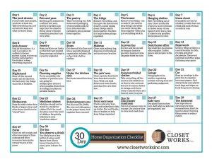 30 day organization checklist