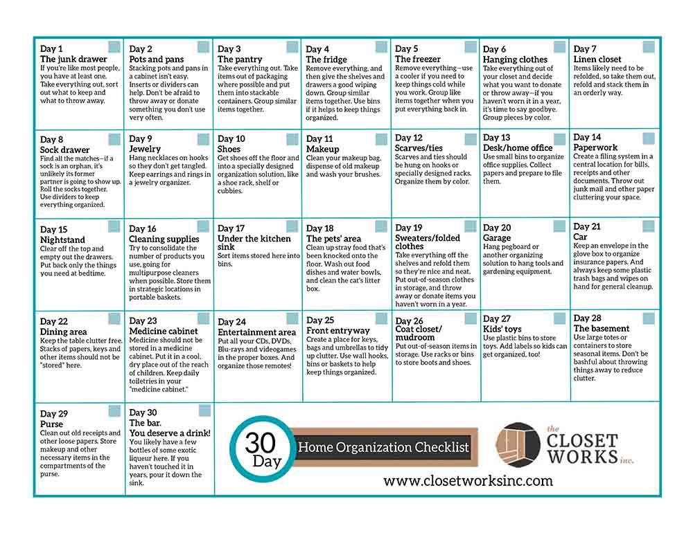 30 Day Home Organization Checklist