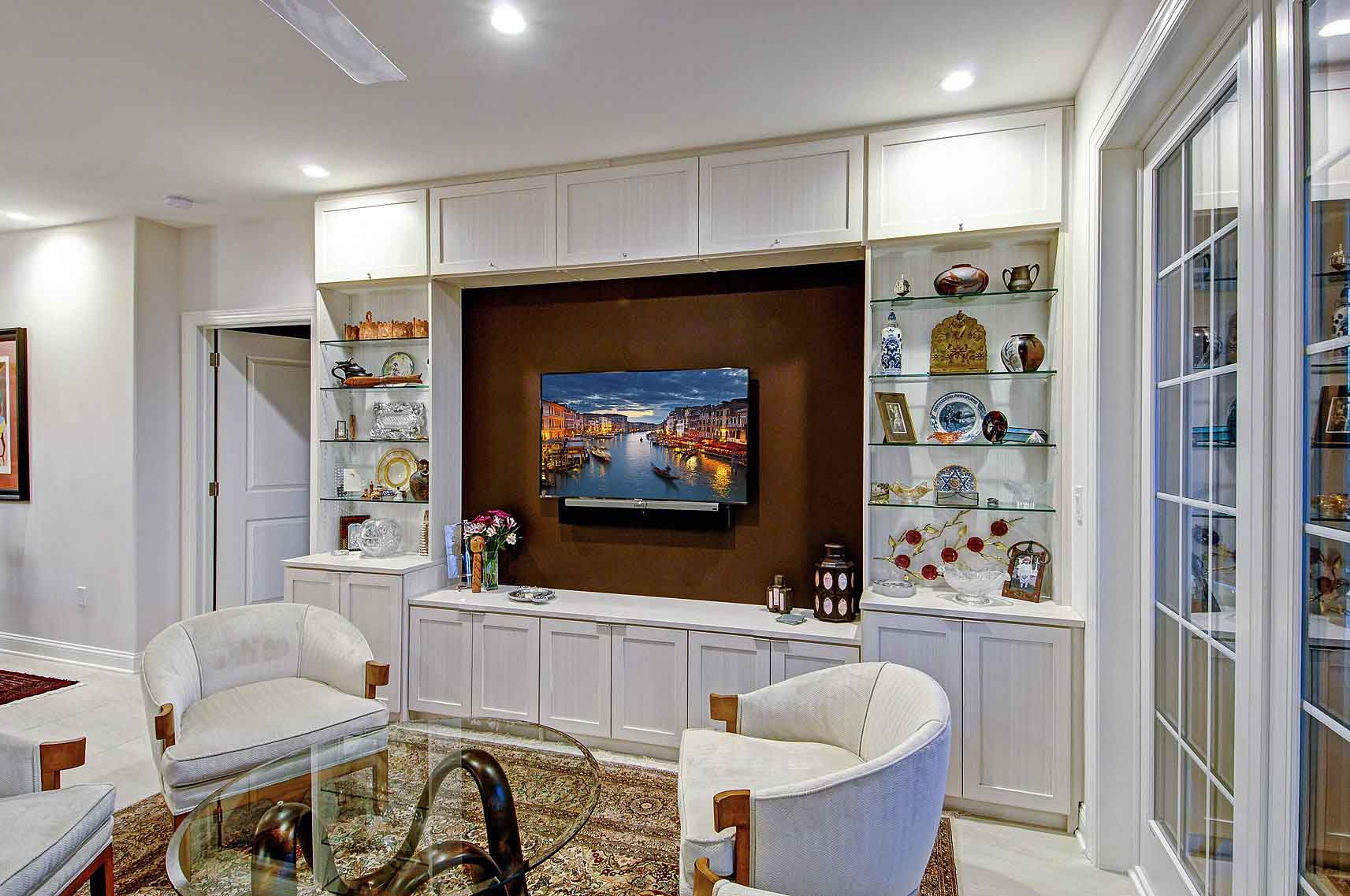 Media center wall unit with entertainment area