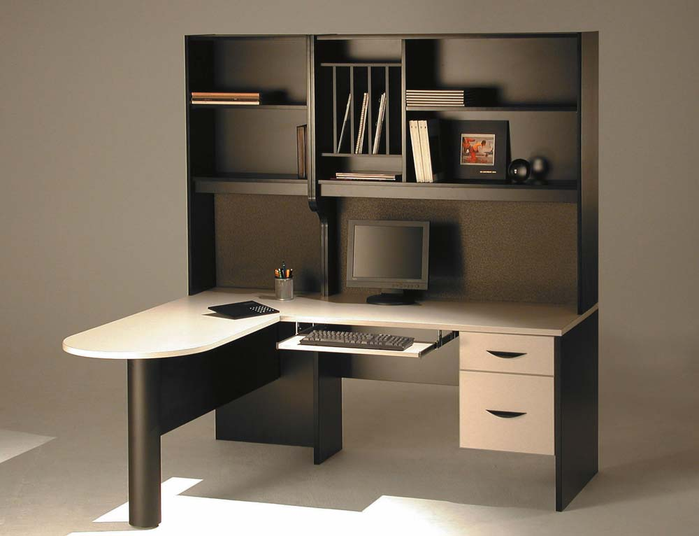 Custom home office design with compact workstation and open shelves
