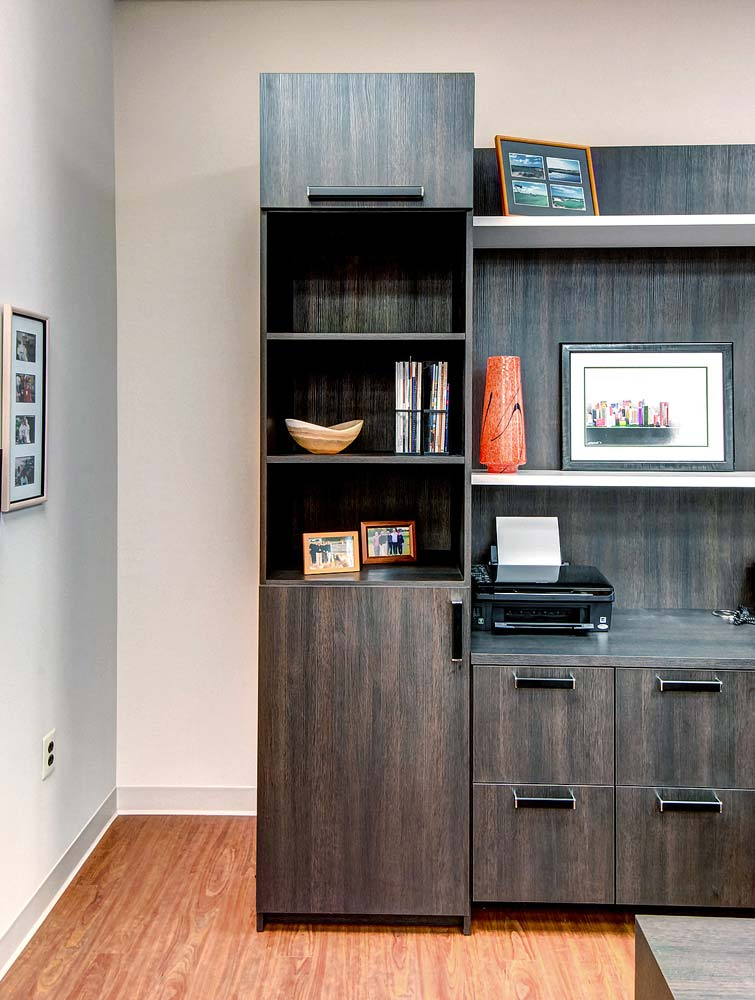Modern style wood cabinet with collectibles neatly displayed on shelves