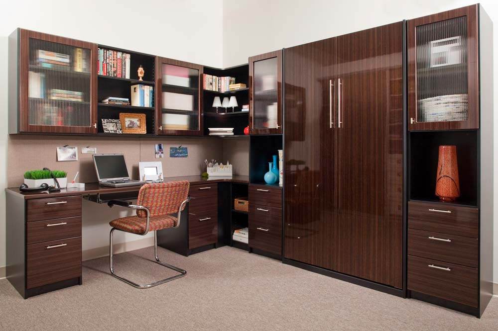 Custom home office design with a vertically stored Murphy bed