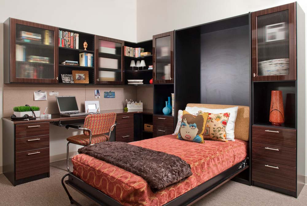 Custom home office design with neatly made and open Murphy bed