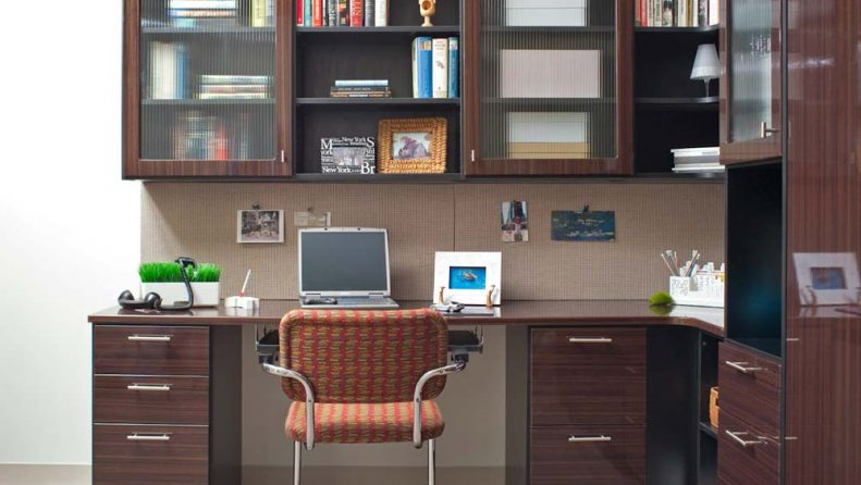 Custom home office storage with drawers and shelves