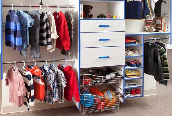 Kids closet cleaned up from the mess