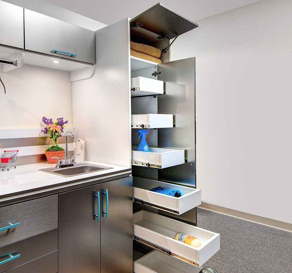 Laundry Room roll out drawers that slide towards you