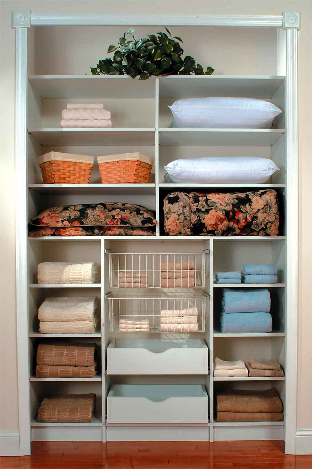 Linen closet neat and organized