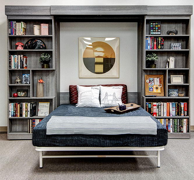 Custom Murphy Bed design with sliding bookcase