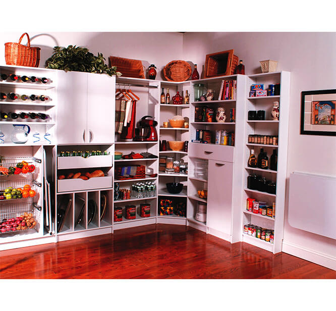 Walk-in pantry design with Lazy Susan