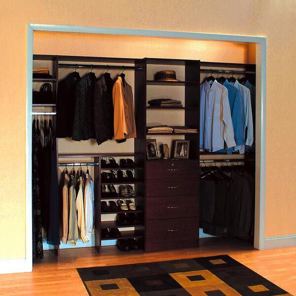 Traditional style men's reach-in closet