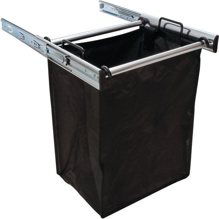 Slide-Out Hamper, Polished Chrome - with 1 large removable nylon bag