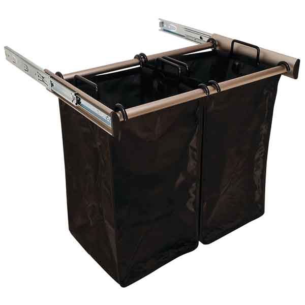 Slide-Out Hamper, Satin Nickel – with 2 small removable nylon bags