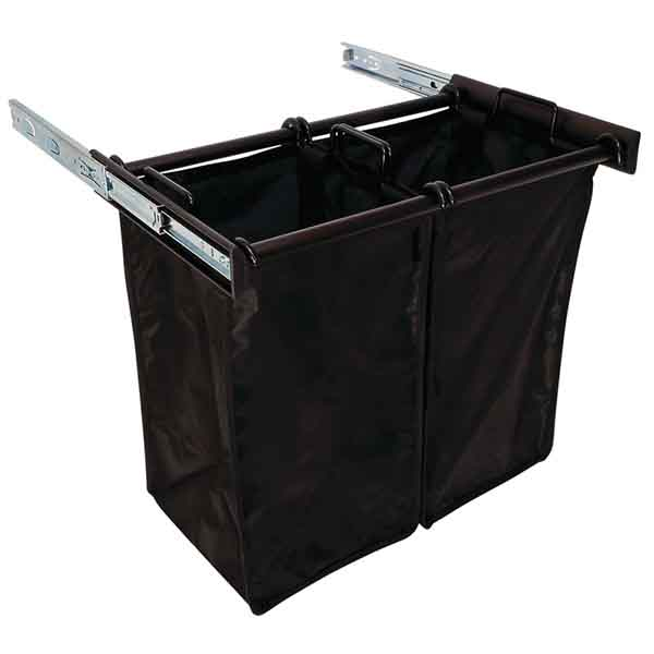 Slide-Out Hamper, Oil Rubbed Bronze – with 1 large and 1 small removable nylon bag