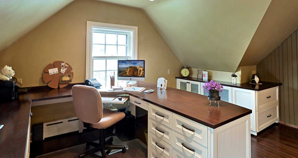 Home office organization idea with wrap around desk and matching cabinet