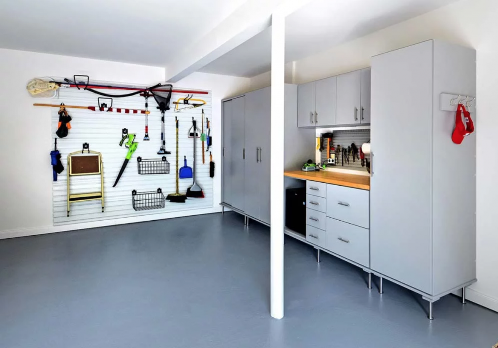 Garage organization system idea with cabinets and wall system