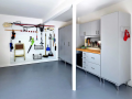 Garage organization ideas with cabinets and wall system