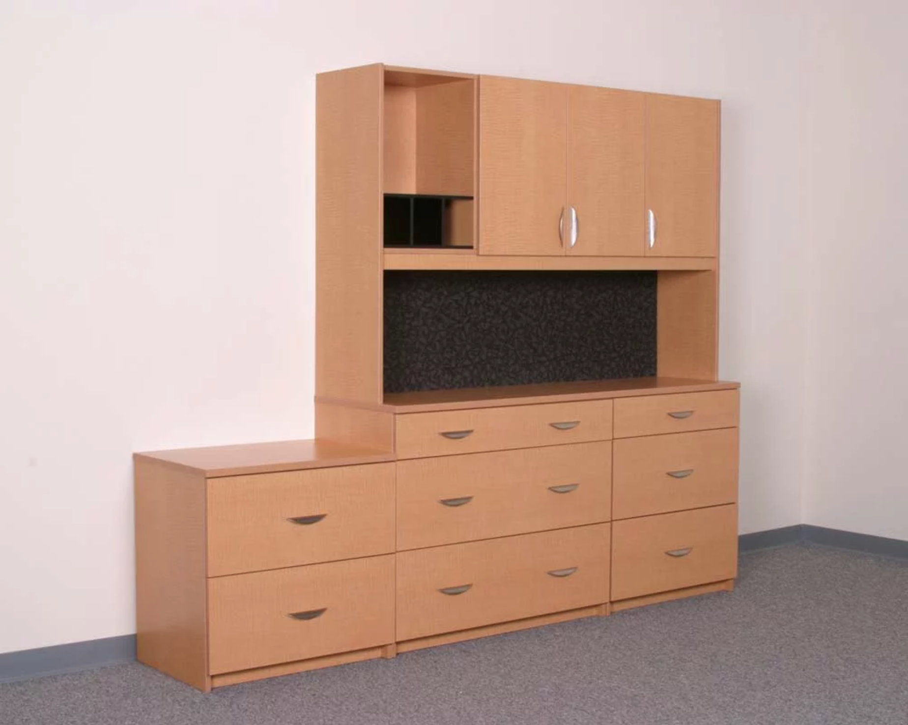 Custom office furniture piece with cabinets and closed storage