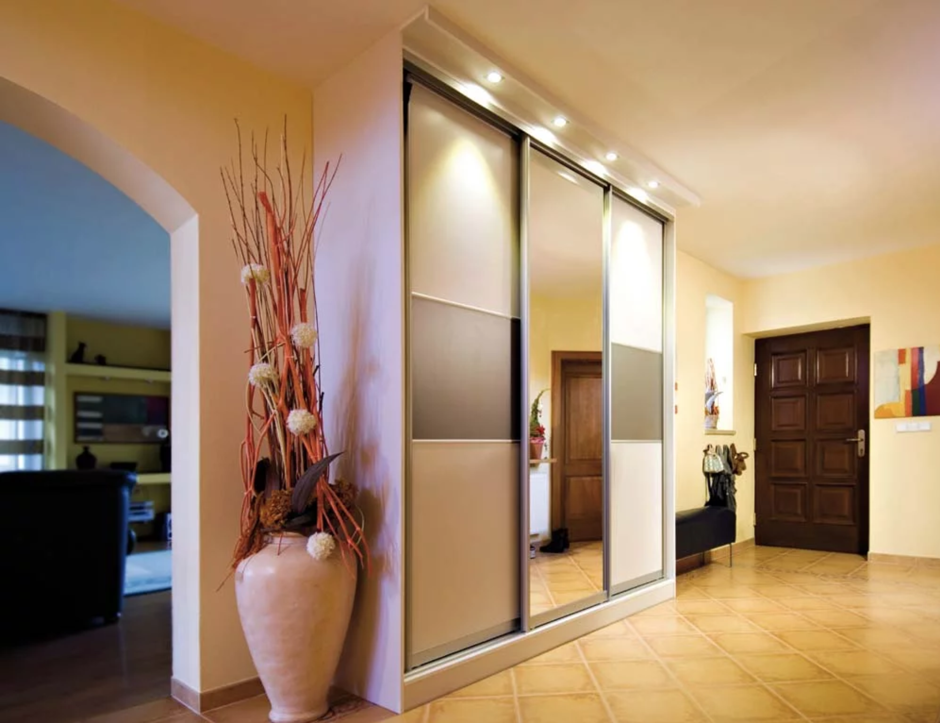 Free standing wardrobe with custom built sliding doors