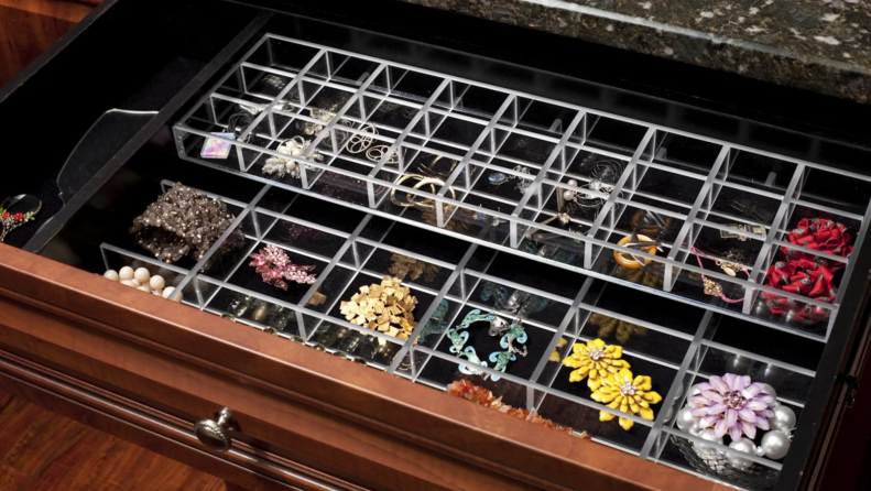 Open drawer with velvet lined jewelry insert