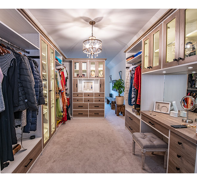 Custom walk-in closet system and organizer