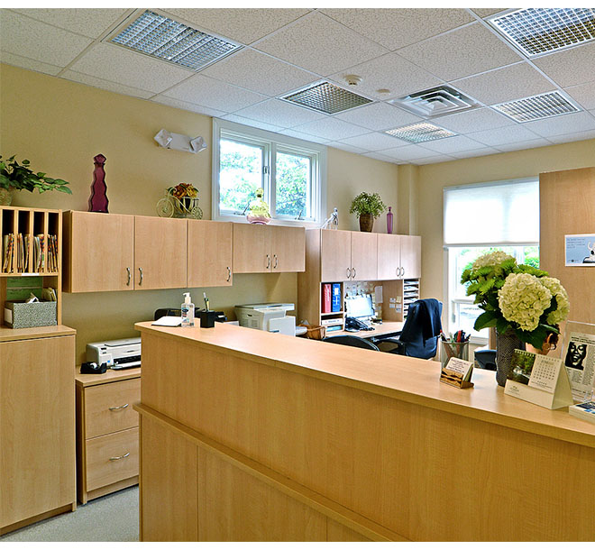 Commercial office space with reception area