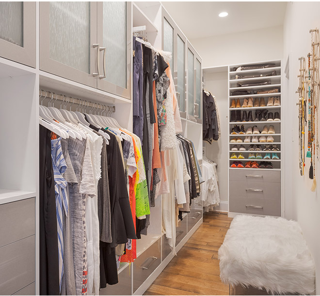 Closet systen with shoes and clothing neatly organized