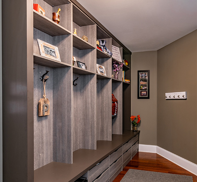 Custom mudroom with cubbies and bench seating
