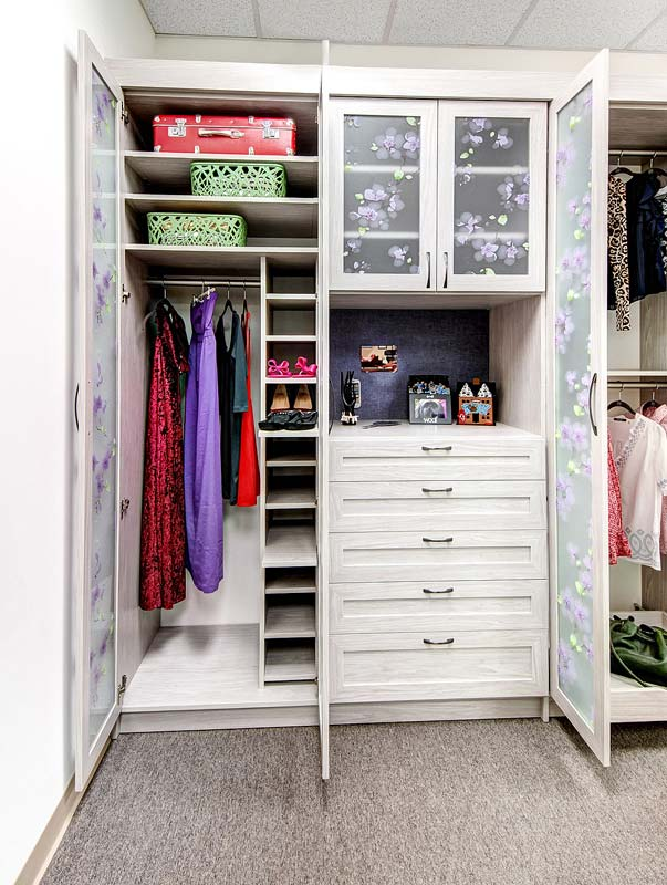 Custom pull out closet shelving sized perfectly for shoes