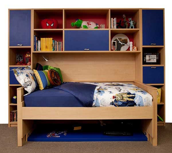 Hidden bed made neatly with toys organized on shelves and in cubbies