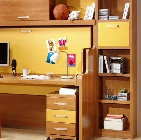 Space saving bed and storage unit transformed into desk
