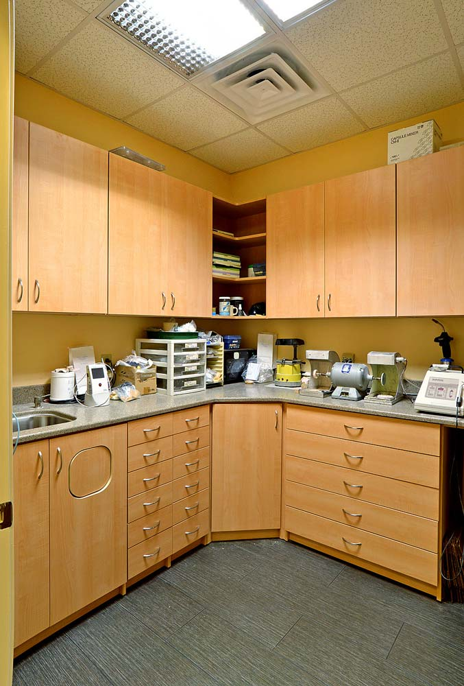 Dental office with custom built furniture and cabinets
