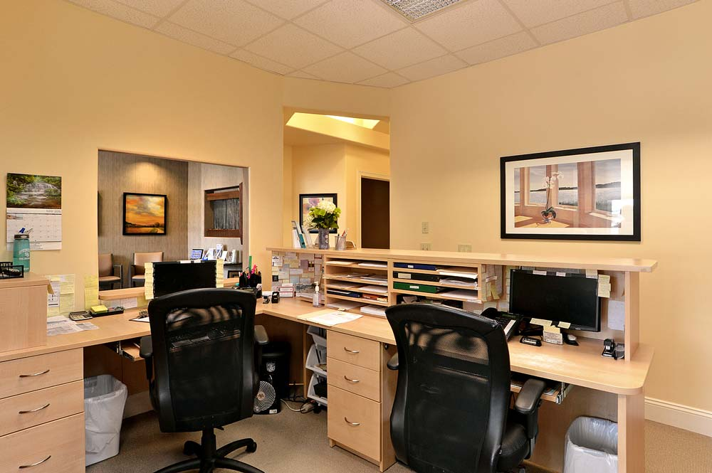 Medical office with custom built desk area for two