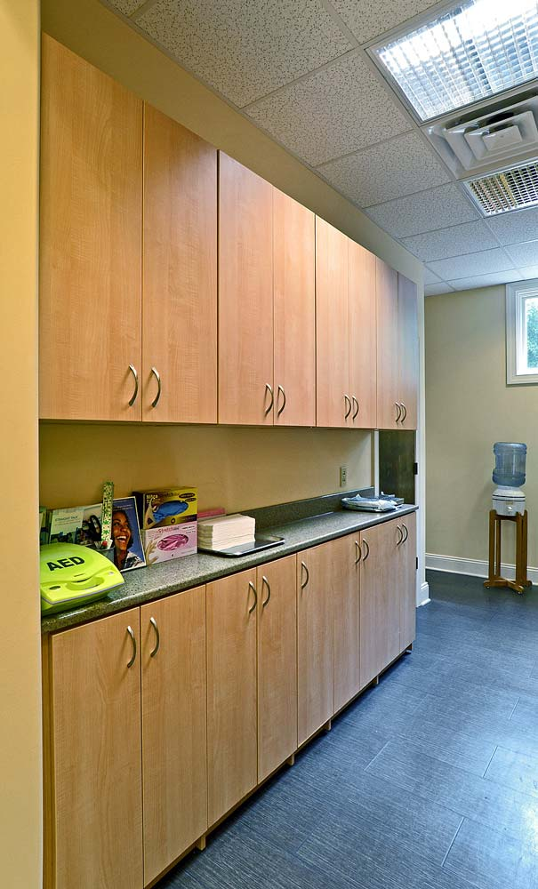 Custom built cabinet and workspace within medical office