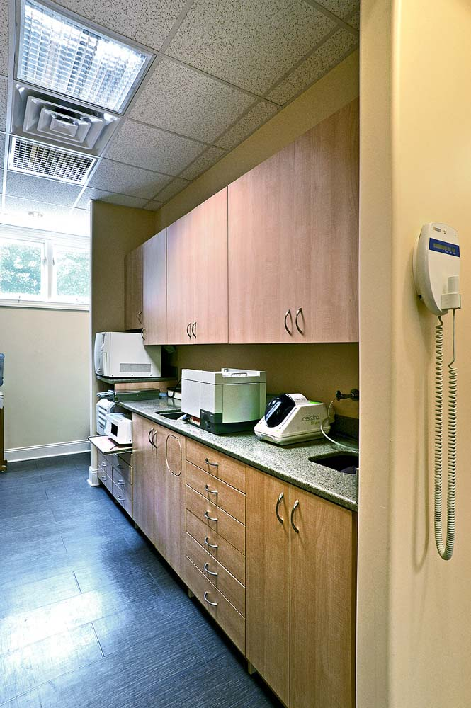 Dental office workspace and cabinets