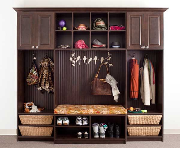 Mudroom or entryway closet system with seating area