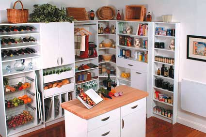 Featured walk-in pantry design with center island