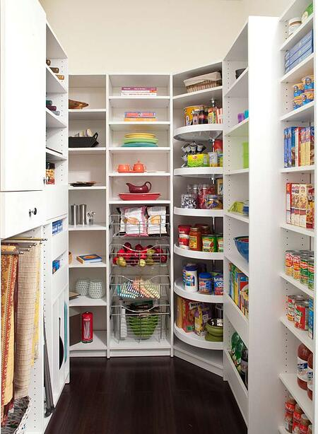 Custom designed pantry with slide out vertcial racks and Lazy Susan