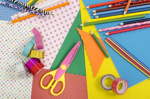 craft and art supplies organized