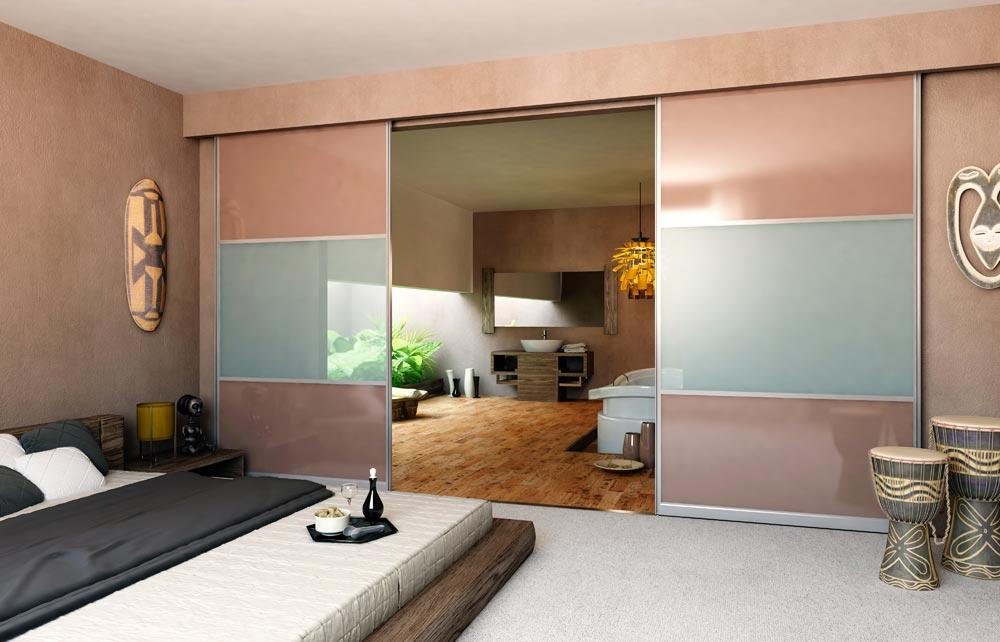 Sliding glass doors separating bedroom for livingroom
