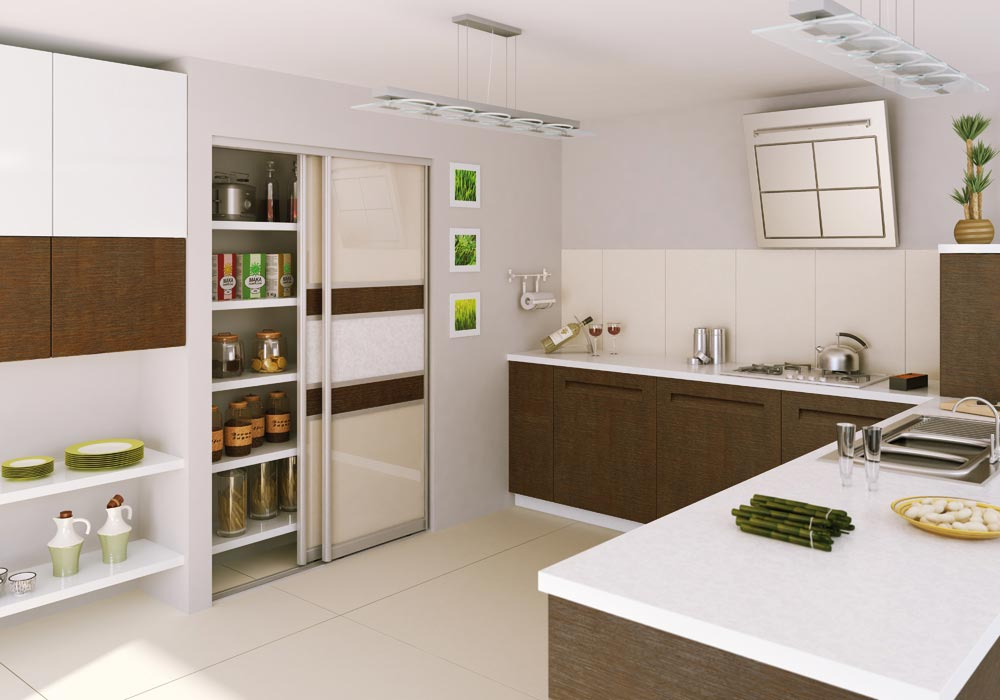 Kitchen pantry with patterned sliding doors