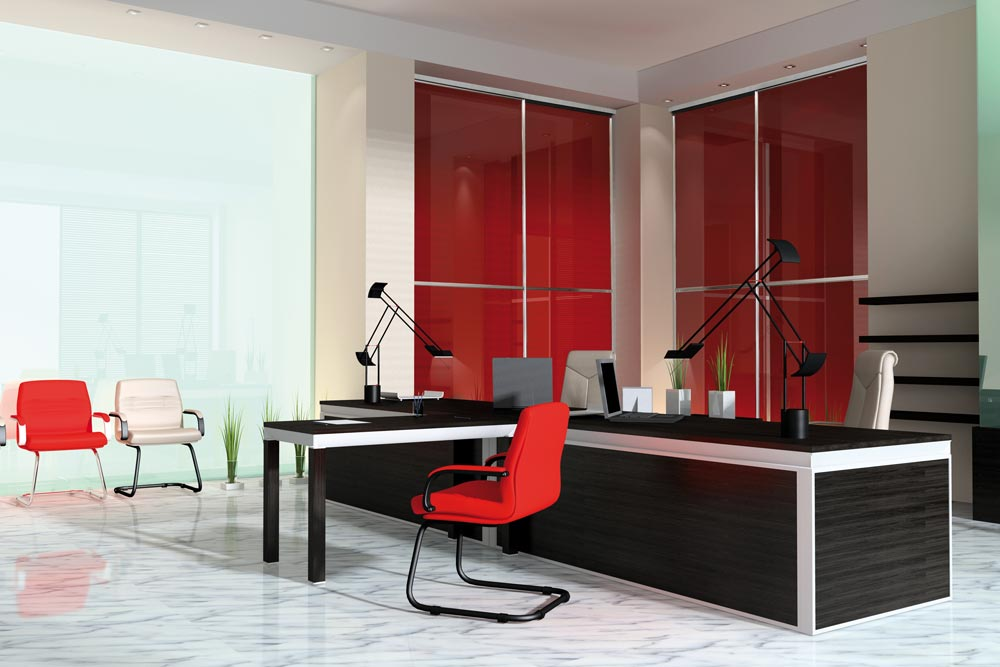 Red stained sliding glass doors in office space