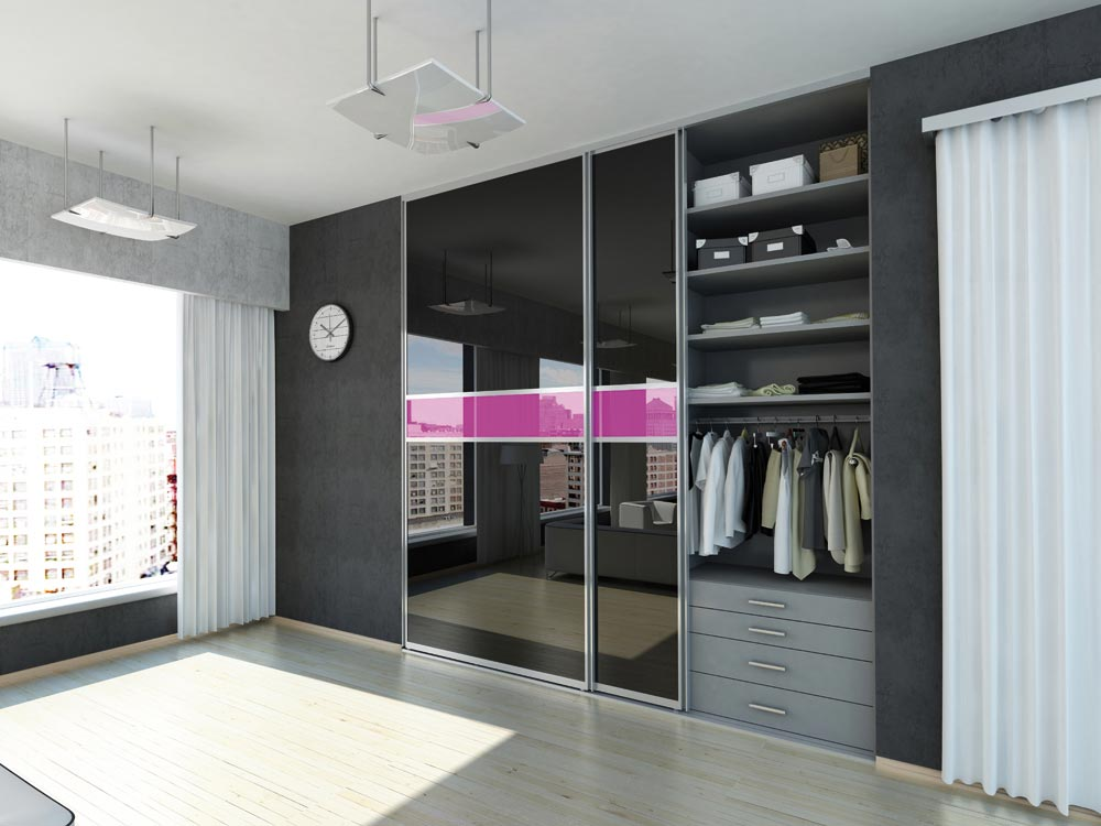 Organized closet with reflective sliding glass doors