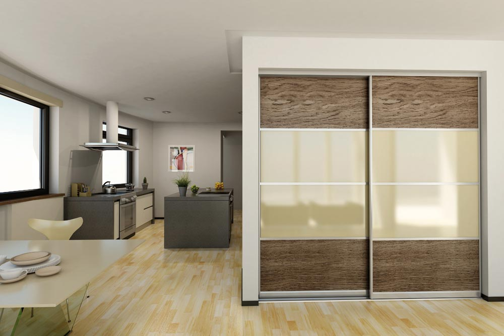 Living room closet with pattern sliding doors and glass inserts