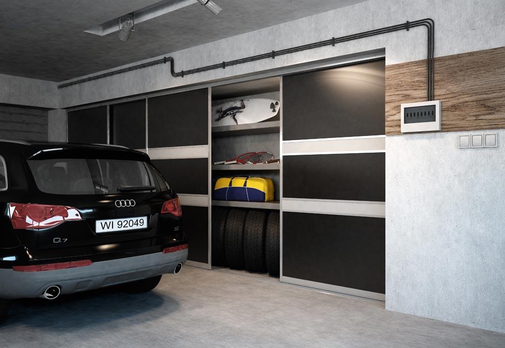 Dark pattern sliding doors on garage closet with organized sports gear